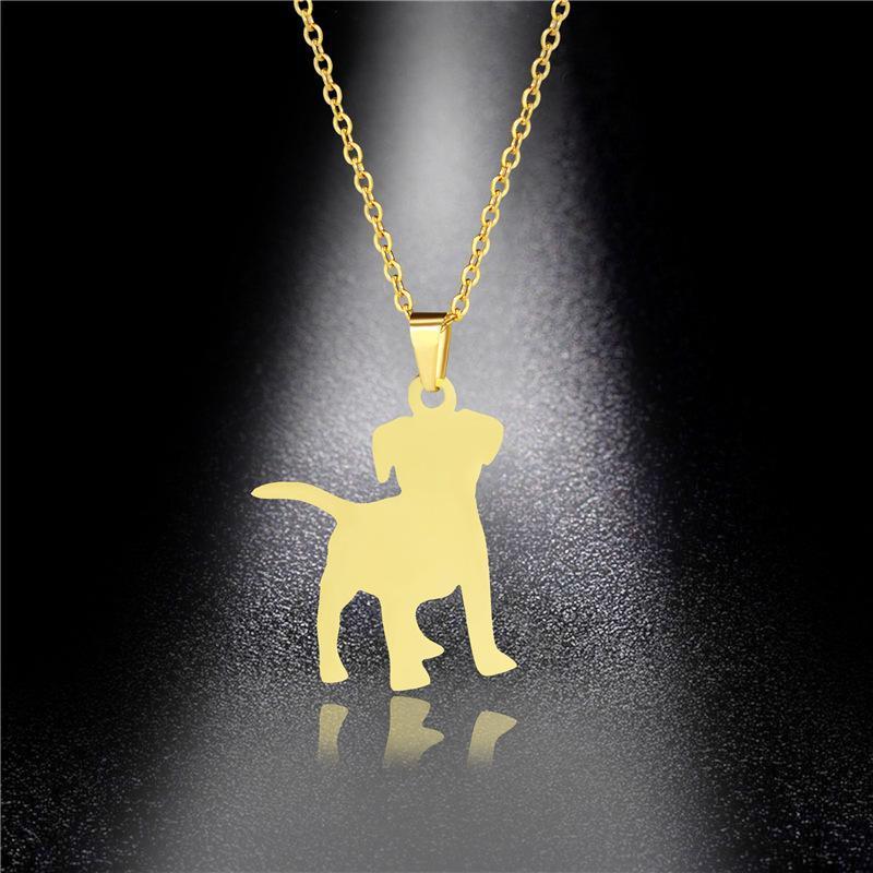 Pet Puppy ожерелье европейских и американских титановые стали кулон Tide Девушка хип-хоп из нержавеющей стали ожерелье Собака Подвеска