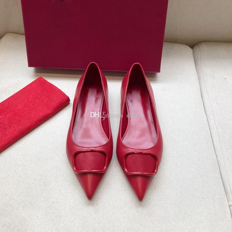 Spedizione gratuita Matte in vera pelle Sandals Sandali Sandali Point Toe Fibbie Signore Sexy Shoes Shoes Plat Flat 4cm 7cm Tacchi alti Tacchi da salotto Scatola di scarpe