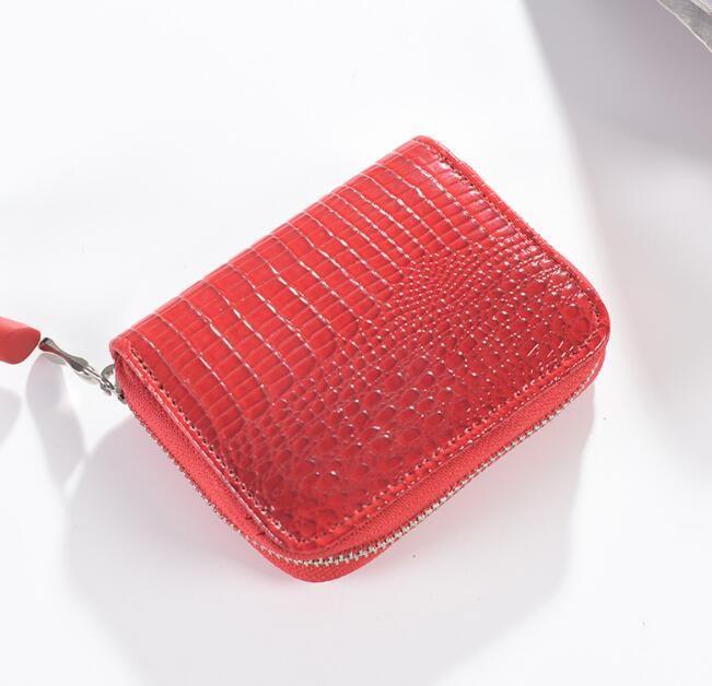 DHL50pcs محفظة المرأة الأحمر متعددة الوظائف بطاقة الائتمان PU حامل ساحة قصيرة محفظة