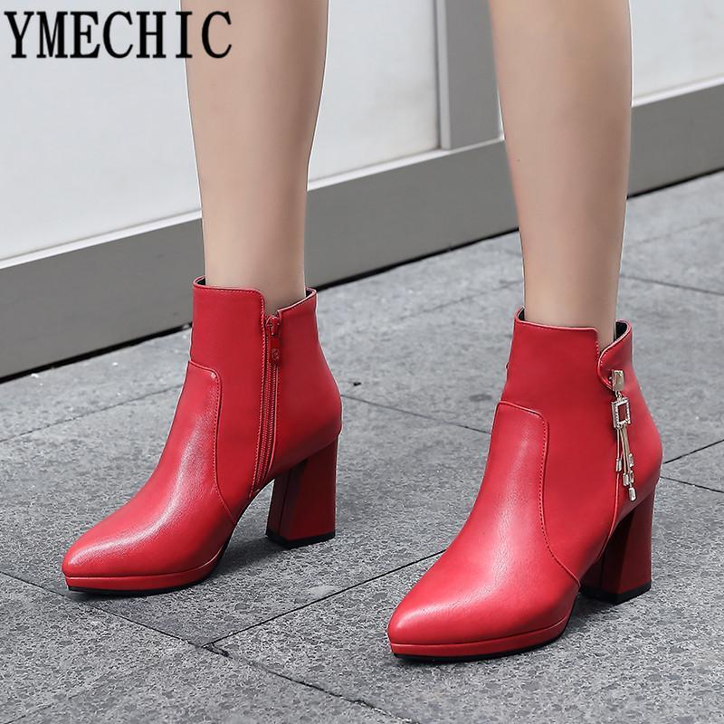 YMEKİK 2020 Bayan Yüksek Topuk Çizmeler Kadın Sivri Burun Moda Kristal Bayanlar Parti Ayakkabı Sivri Burun Kırmızı Beyaz Artı Boyutu 34-43