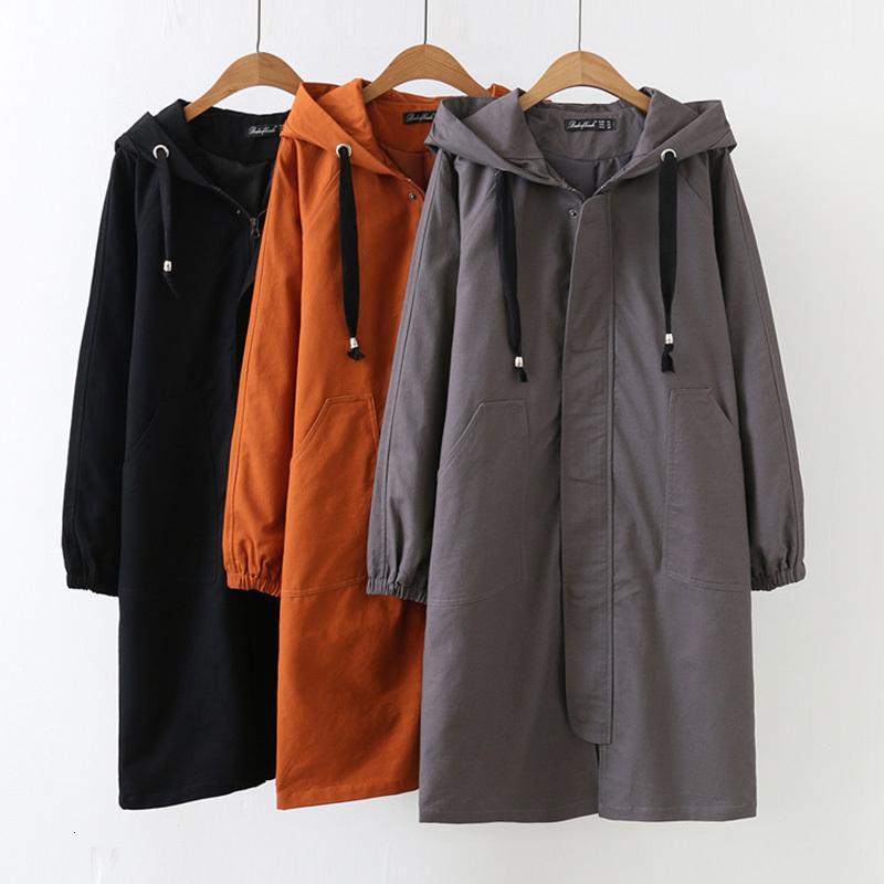 Más rompevientos 2020 NUEVO primavera coreano con capucha con capucha larga cubierta de zanjas femeninas sueltas de gran tamaño mujeres abrigos básicos Ropa