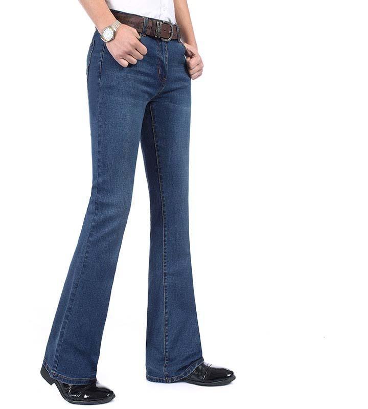 NUEVO verano para hombre FLARED FELICIDO Cintura Alta Flor Larga para Bootcut Blue Hommes Bell Bottom Jeans Men Y200116