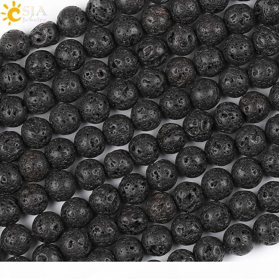 CSJA Rabatt 8mm Pure Black Perlen Lava Rock Lose Natürliche Heilung Stein Perlen Für männliche weibliche Halskette Armband Schmuck DIY E193 c