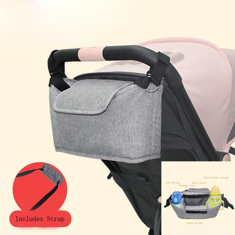 Gri Büyük Kapasiteli Bebek Arabası Çantası Depolama Organizatör Anne Seyahat Asılı Arabası Pram Mumya Bezi Çanta Arabası Aksesuarları