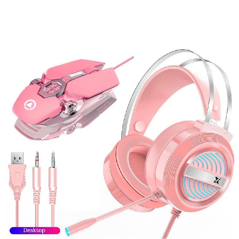 2 em 1 fone de ouvido do rato Define USB Wired Gaming Mouse 3200dpi 7 Botão RGB retroiluminado óptica Computador Para Gamer Área de Trabalho Laptop