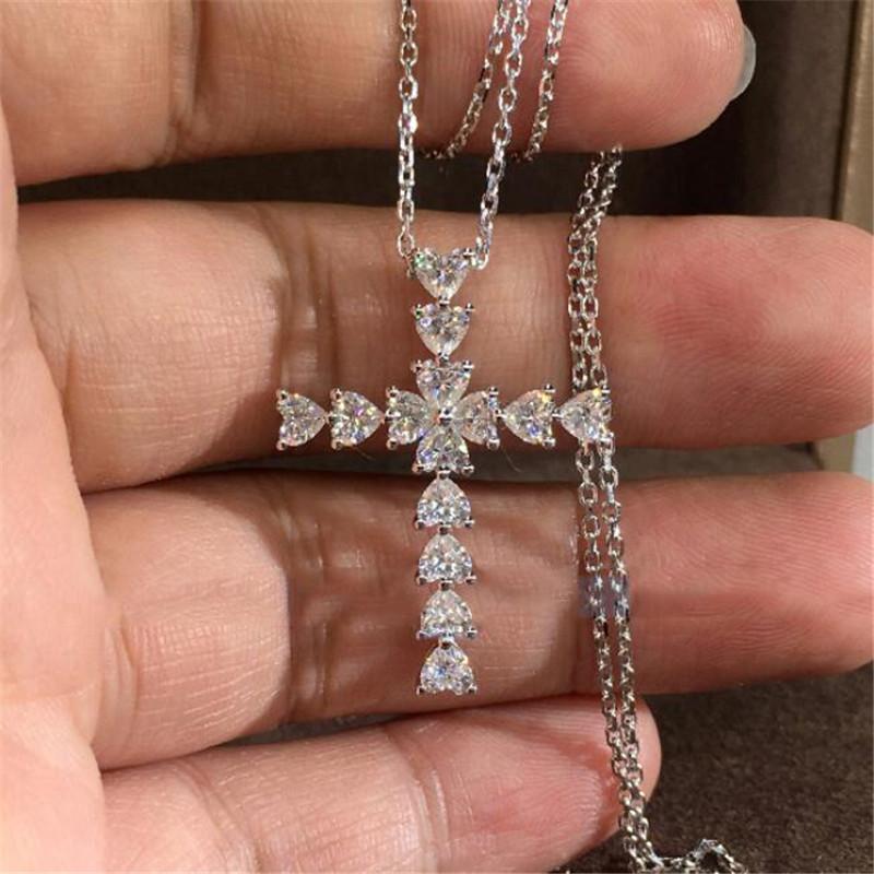 Einfache Art und Weise der Schmucksachen 925 Sterlingsilber-Herz-Form-Weiß Topaz CZ-Diamant-Partei-Kreuz-Anhänger Christentum Frauen Claviclehalskette Geschenk