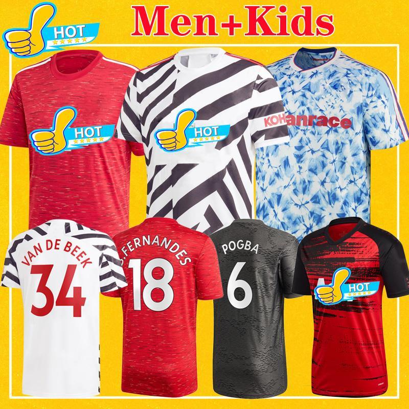 مانشستر رجل 2021 FERNANDES يونايتد VAN DE المتحدة BEEK GREENWOOD RASHFORD كرة القدم جيرسي لكرة القدم قميص MARTIAL 20 21 زي الاطفال كيت