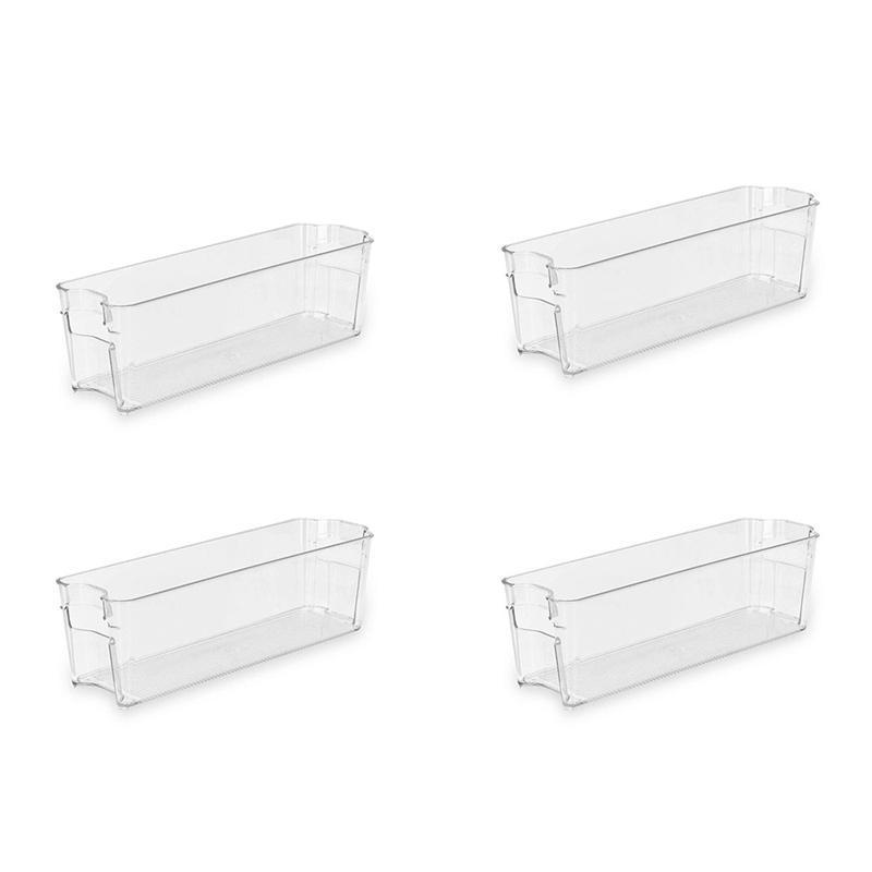 4pcs empilhável Frigorífico Bin - com alça - polietileno para geladeira, freezer, Organização Pantry