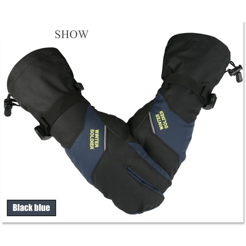 قفازات التزلج الرجال النساء 3 أصابع لمس الشاشة التزلج يندبروف طويل المعصم الشتاء الدافئة القفازات على الجليد الأطفال للماء