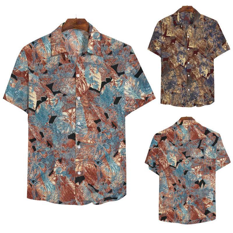 2021 Yeni Erkek Tasarımcı Gömlek Moda Kısa Kollu Baskı Panelli Erkek Gömlek Tek Göğüslü Adam Giyim