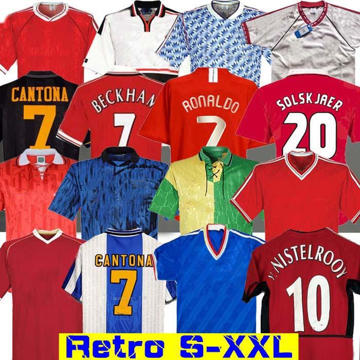 Ретро Юнайтед 2002 Футбол Джерси Человек футбол Giggs Scholes Beckham Ronaldo Cantona Solskjaer Manchester 06 07 08 94 96 97 98 99 86 88 90