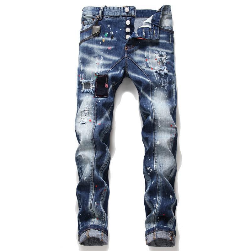 Herbst und Winter Neue Splash Paint Herren Jeans Slim Fit Patch Stretch Enge Gerade Bein Jugend Casual Streetwear Mann Hosen