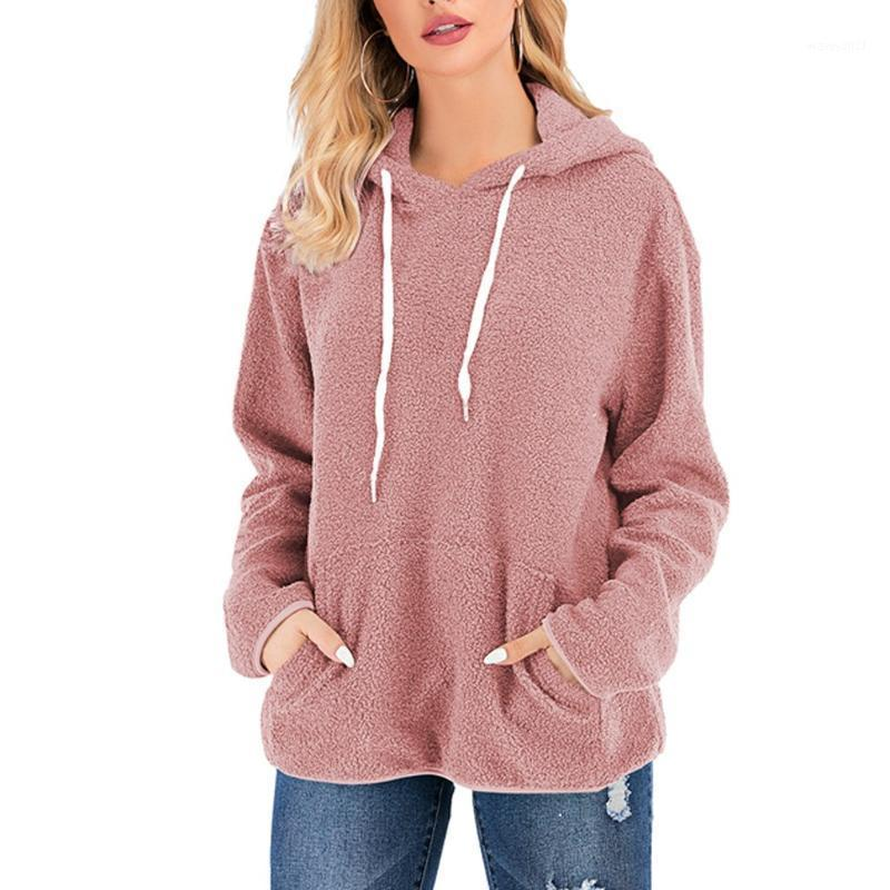 Женская повседневная зимняя теплая с длинным рукавом сплошной цвет с капюшоном плюшевая толщина толщина стандартных высококачественных материалов # 351