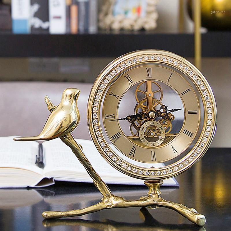 Europäische amerikanische Licht Luxus Vintage Clock Büro Dekorationen Wohnzimmer Home Schreibtisch Clock Dekoration WJ0222611