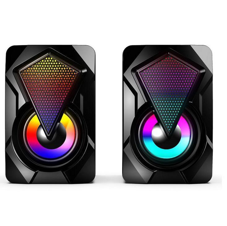Haut-parleurs combinés Ordinateur USB 3.5mm Audio Jack 3D Stéréo Bass Multimédia Lecteur Musique Coloré Lights RGB Haut-parleur pour PC Ordinateur de bureau pour ordinateur portable