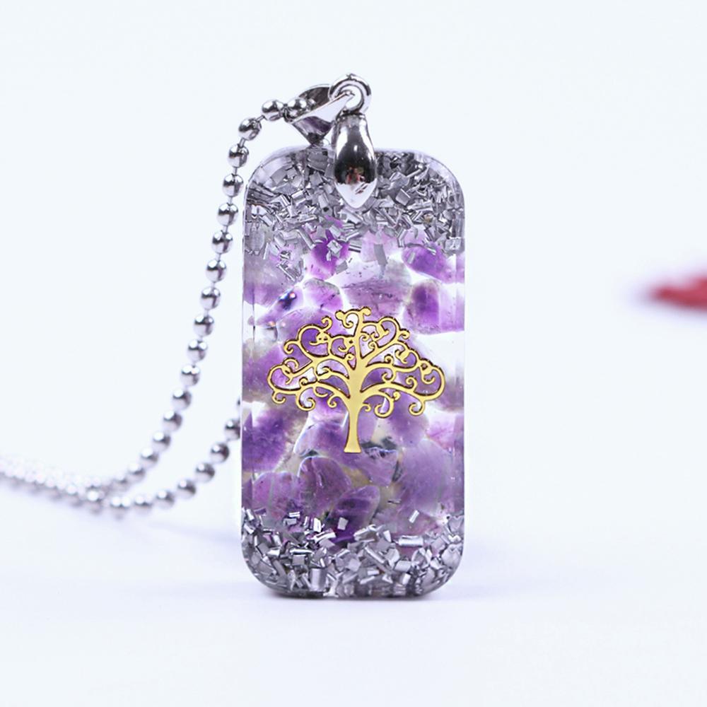 Natürliche Amethystine Halskette Orgonite Anhänger Leben der Baum Energie Halskette Yoga Schmuck Y1220
