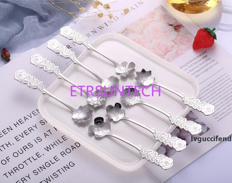 New arrival Stainless Coffee Spoon Flower Shape Dessert Spoon Ice Cream Candy Tea Spoon Stirring Snacks Scoop LX0670