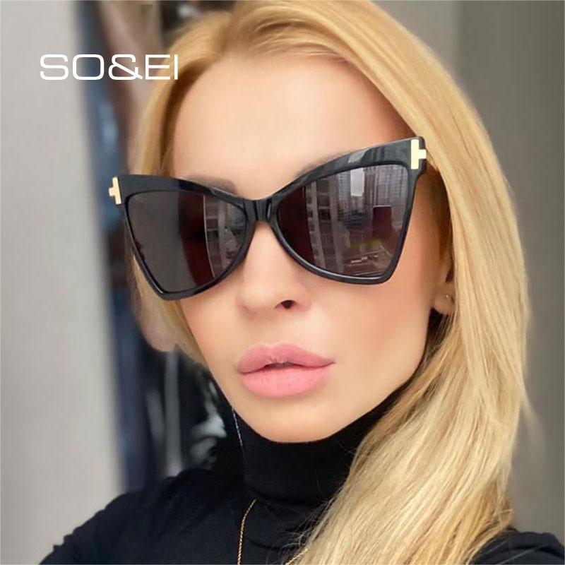 Солнцезащитные очки Soei Ретро Кошка Негабаритные Женщины Дизайнер Бренд Дизайнер Дамы Градиент Очки Очки Мужчины Открытый Солнцезащитные Очки Oculos UV400