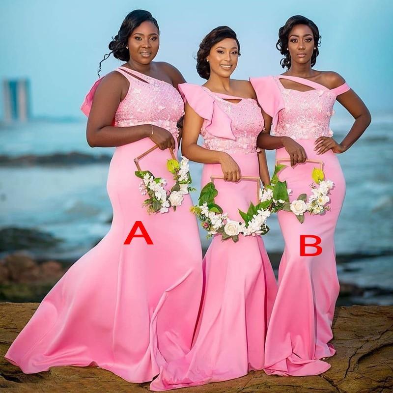 Sıcak Pembe Uzun Nedime Elbiseleri Afrika Siyah Kızlar Için Bir Omuz Denizkızı Düğün Parti Elbise Kadınlar Örgün Kıyafet Kesimi