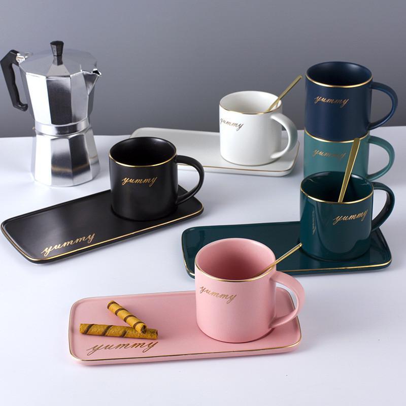 Coupe de café en céramique Ensemble de tasse de café en céramique en céramique plaqué or nordique Coupe de café et de soucoupe Ensemble de vaisselle de thé de l'après-midi
