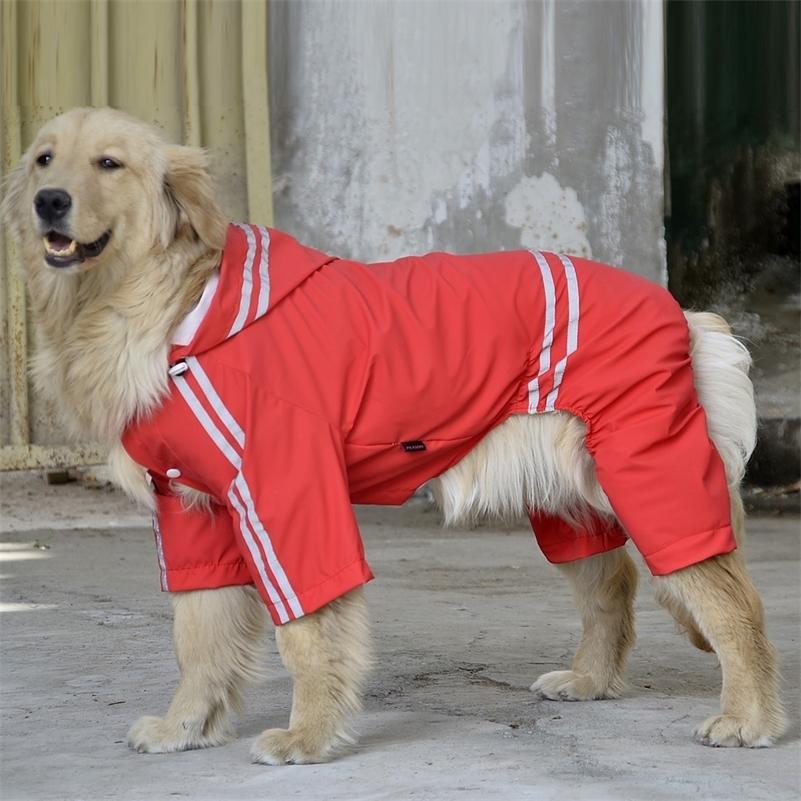 Водонепроницаемый слой Светоотражающая собака Плащная одежда для больших собак Лабрадор 3XL-7XL 4 цвета Y200917