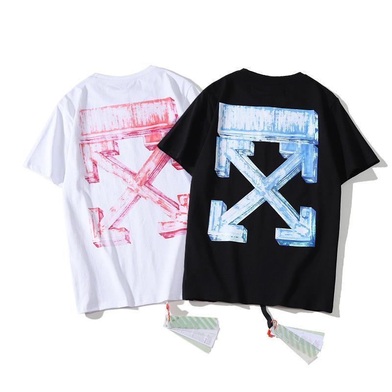 2021 Primavera ed estate New Fashion Brand Style T-shirt da uomo Off Stereo Arstyle Pastello Marcatore Graffiti Pink Bizzeri Bizzeri