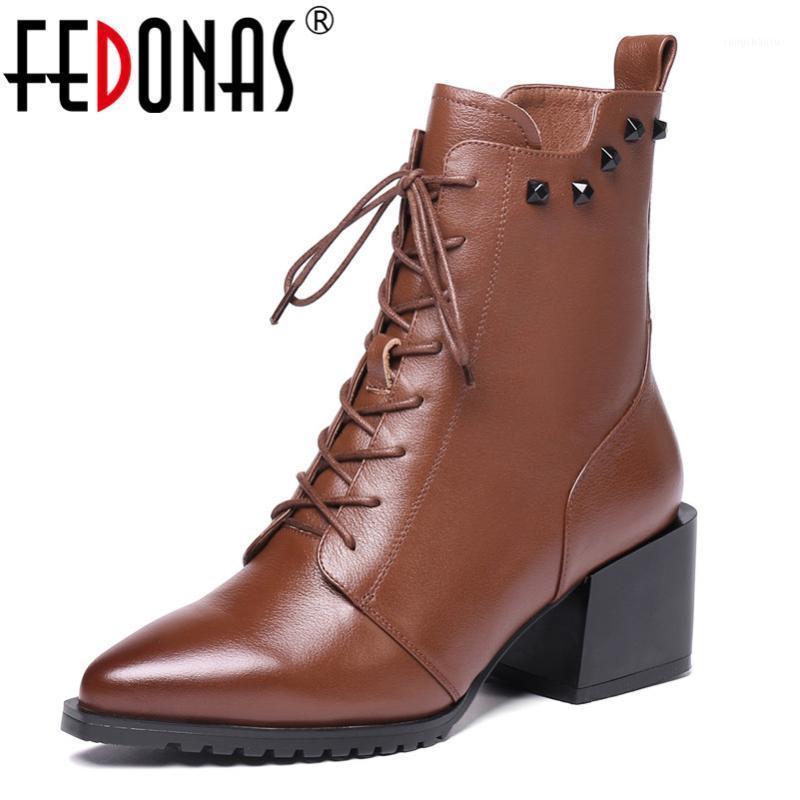 Fedonas Mujeres de cuero genuino Botas de tobillo Tacones altos Rivets Club de noche Zapatos de fiesta Mujer Lace Up Ladies Boots1