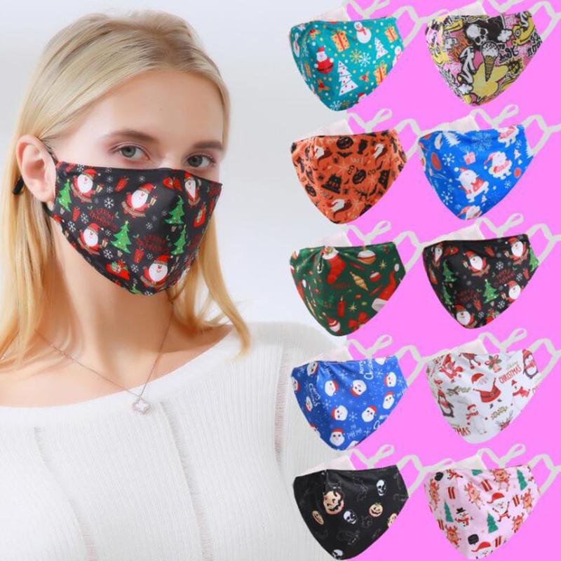 Máscaras Designer Máscara Facial de Natal de Santa Snowman Ice seda impressa miúdos das mulheres dos Mascarilla 3D à prova de poeira Haze mascherina pano Facemask