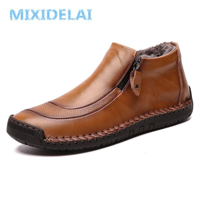 MixIDelai New Fashion Uomo Stivali Stivali da neve in pelle di alta qualità Stivali da neve scarpe caldi pelliccia peluche scarpe invernali Plus Size 38-48 201204