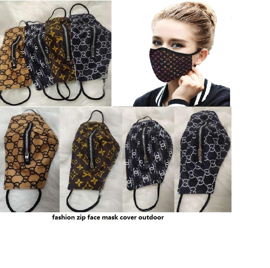 Конструктор Easy Zipper маска маски моющегося Quick Dry Мода Открытого Zip Открытой крышка сетка печать Велоспорт Рот Covers есть.Пить Открытый