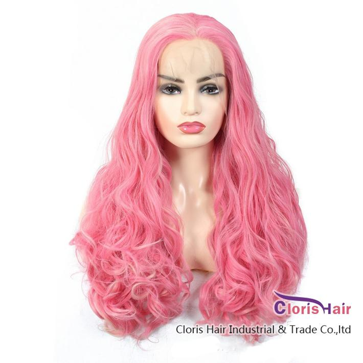 Bouncy Wavy Synthetic Lace Front Wig Exquisite Hand Tied 13x2 Swiss Lace Heat Resistant Natural Wig Pink Glueless Frontal Wig For Women