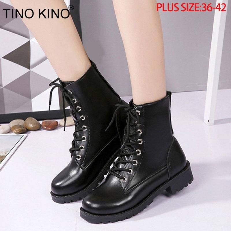 Tino Kino Mulheres Plataforma Outono Ankle Botas Senhoras Lace Up Moda Punk Motocicleta Sapatos Feminino Grosso Heels Médio Plus Size T200425