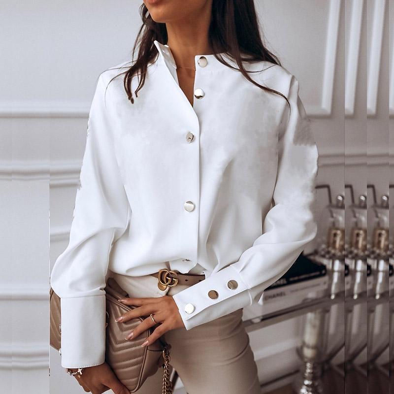 우아한 하얀 블라우스 셔츠 여성의 긴 소매 Buttton 패션 여성 블라우스 2020 Womens 탑 및 블라우스 솔리드 스프링 탑스