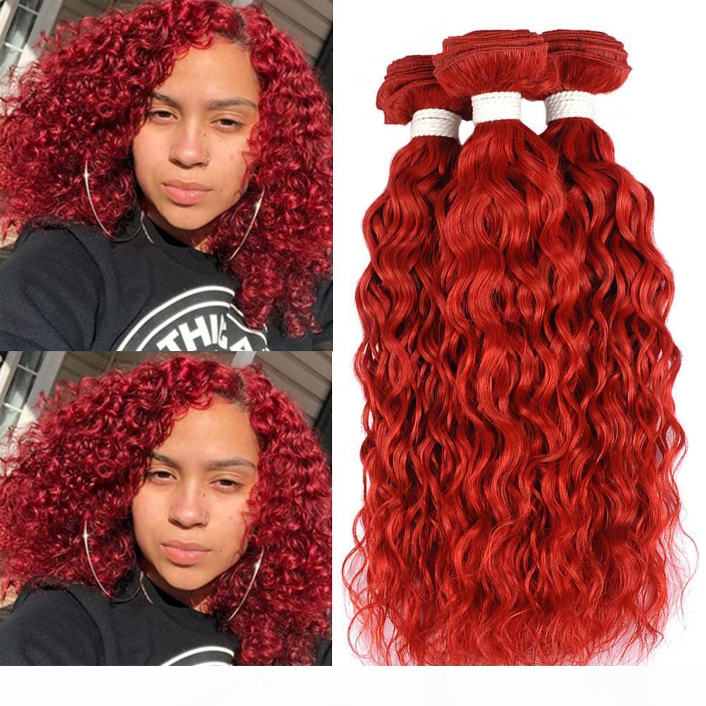 """Parlak Kırmızı Brezilyalı örgüleri Islak ve Dalgalı İnsan Saç Paketler 300Gram Kırmızı Renk Su Dalga Bakire Saç Uzantıları Çift wefts 10-30"""""""