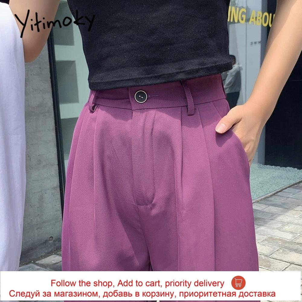 Suit pants woman straight harajuku formal high waist wide leg pants women plus size S-2XL trousers office elastic waist pants 200930