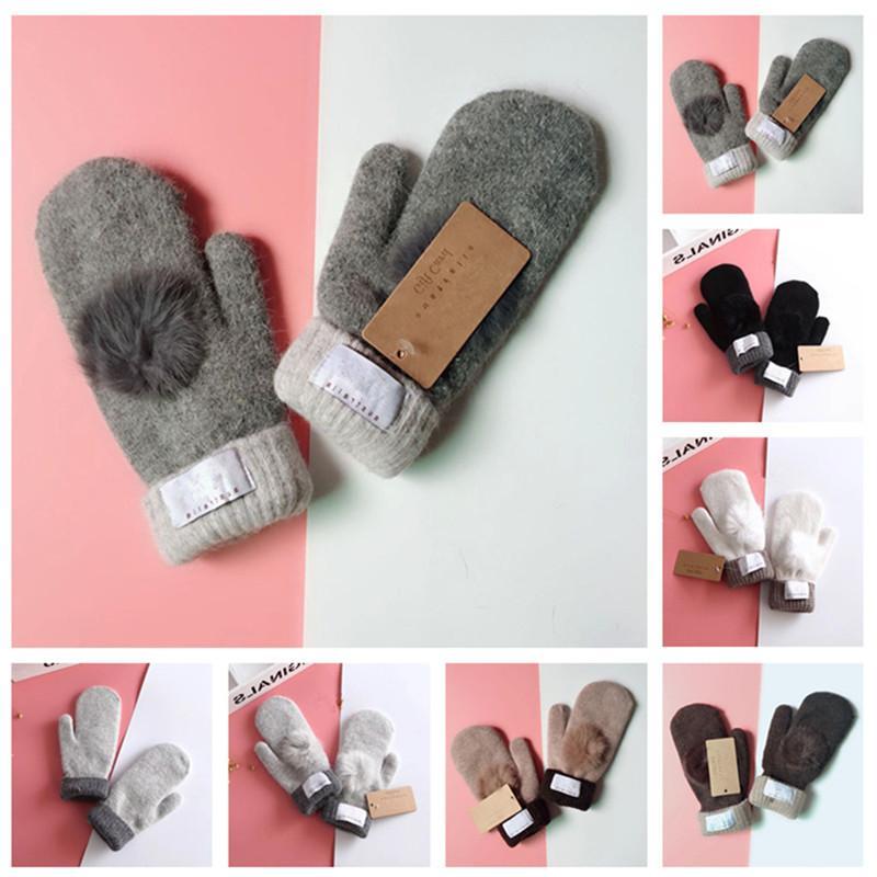 классические Зимние вязаные перчатки с мехом Бал варежки Этикетка Австралия Варежки женщин Дизайн митенки перчатка Открытый езда Рукавицы теплый флис перчатки