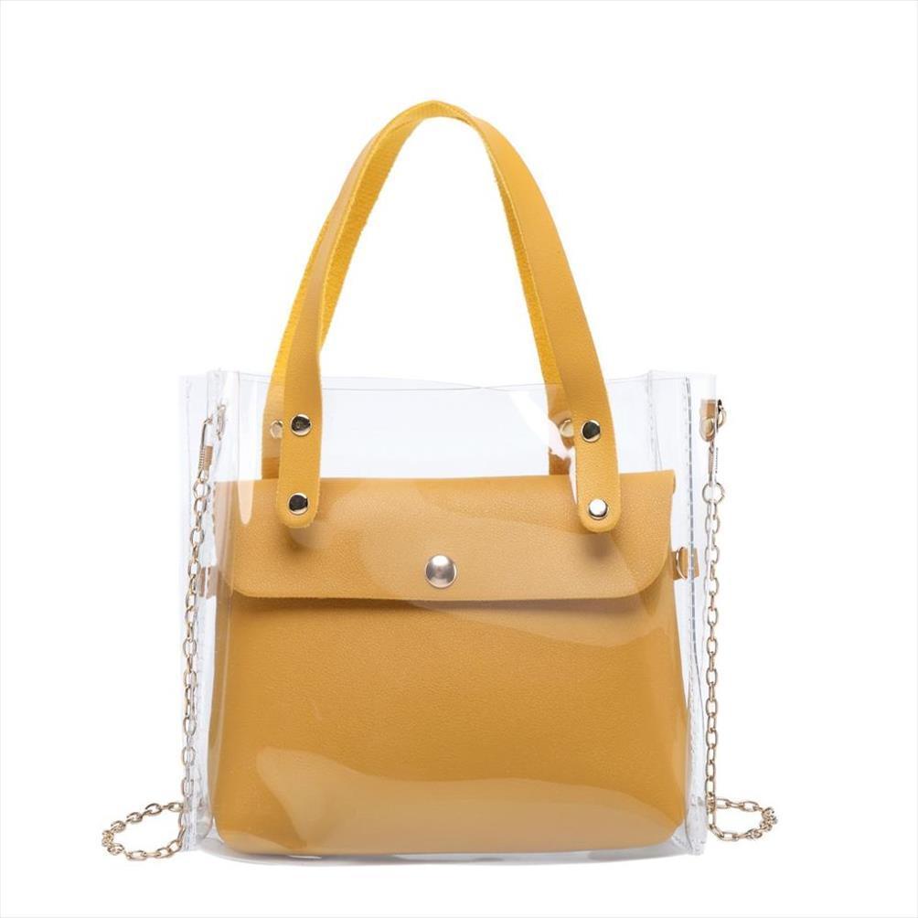 Moda feminina saco transparente Limpar PVC Tote pequeno bolsas mensageiro Verão Laser Shoulder Bag Lady Feminino Sac à main