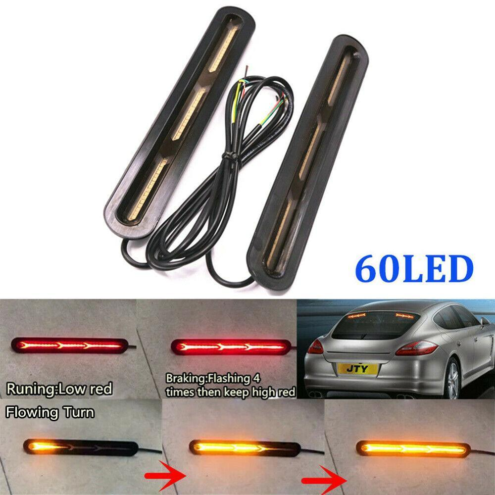 2x60 led 2835 SMD dual color yellow red light car light truck dry flash tail brake waterproof bulb