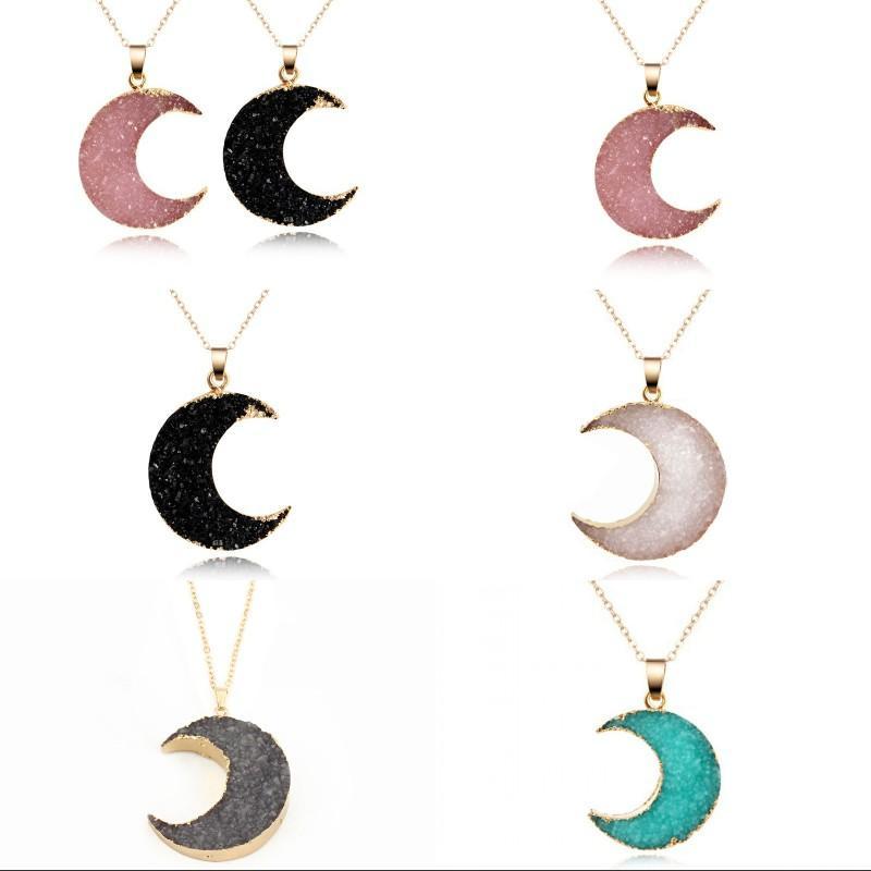 القمر شكل النساء المعلقات قلادة مجوهرات كريستال حجر الراين الأزياء مطلي الذهب سيدة سلسلة قلادة قلادة 2 2JJ J2B