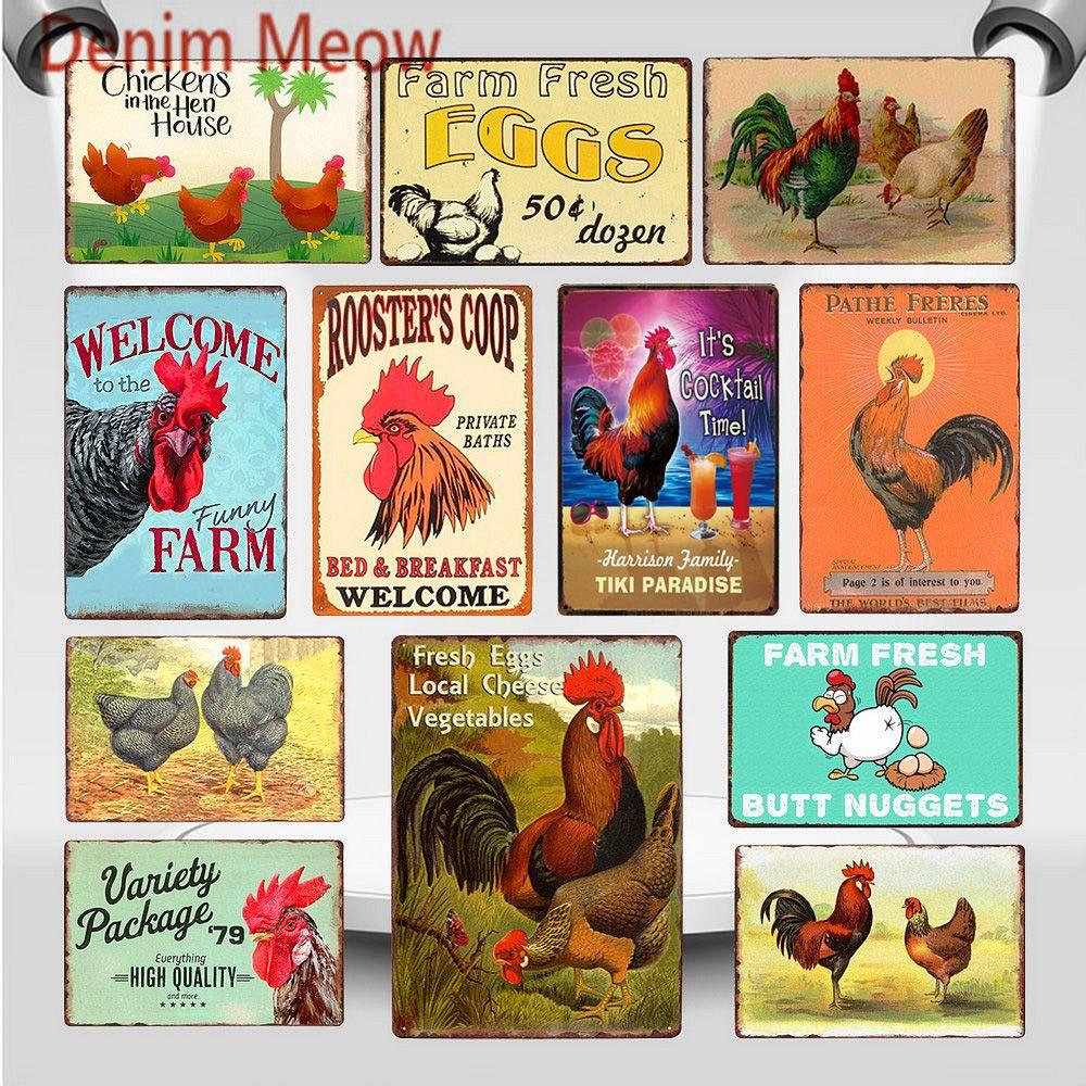 2021 Joyeuses poulets pondent plus d'œufs en métal Signe Ferme Coop Coop Shabby Chic Art Art Art Farmhouse Décoration Animal Wall Affiche 20x30cm
