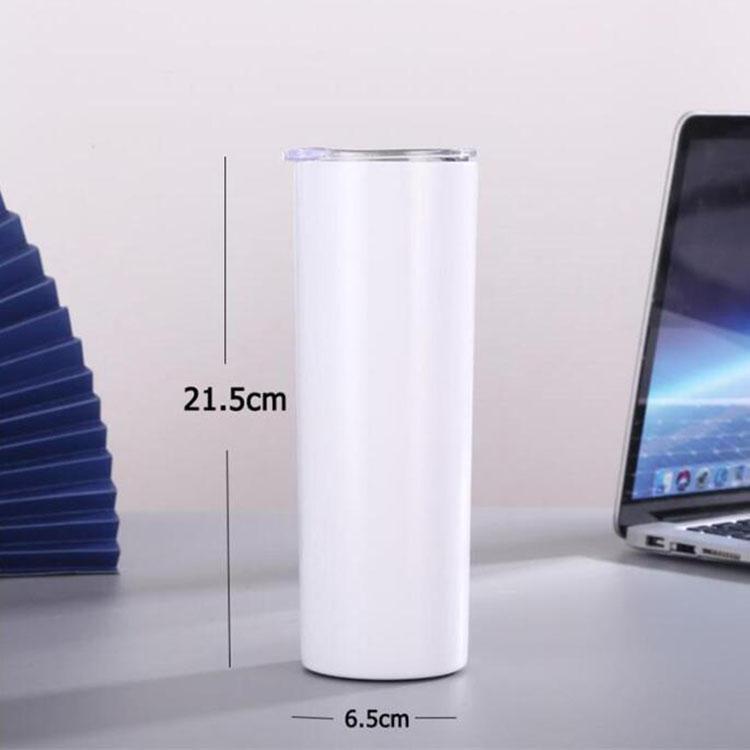 envío rápido de 20 oz / 600ml sublimación vaso blanco taza del coche delgado vaso blanco con cubierta de paja de empuje de acero inoxidable de alta calidad