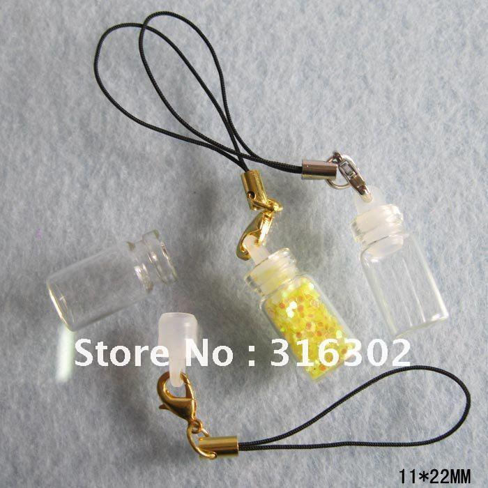 500 x 1ml svuotano mini vetro vetro bottiglia magia pendente petrolio / erbe fata polvere di sabbia con stringa cellulare