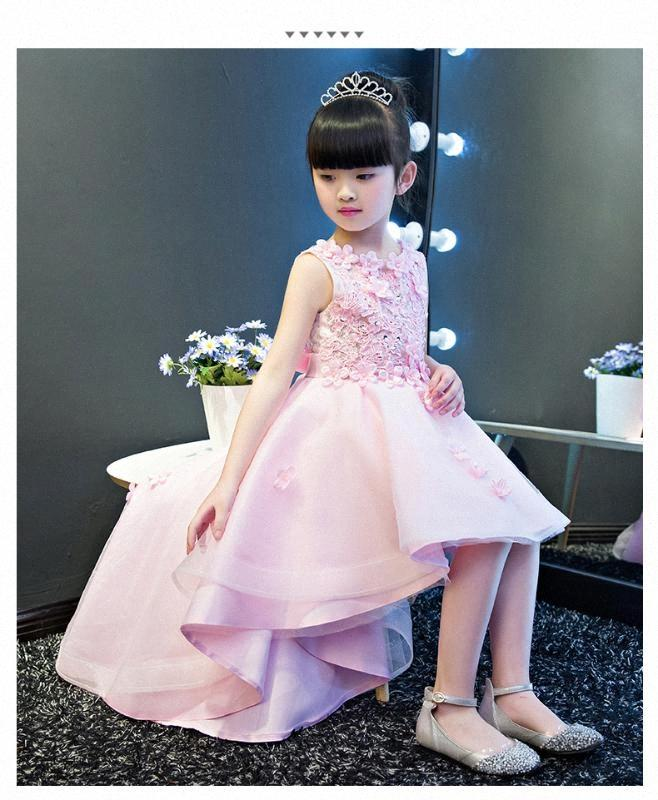 KICCOLY Элегантный Продольный девушки розовый кружевном платье Аппликации Первое причастие платье Baby Girl Формальные Свадебные платья цветка платье XZo0 #