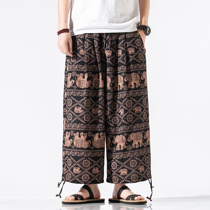 2020 Boho Hosen Harem Elastische Taille Hosen-beiläufige Hippie Kordelzug Hochwertige Hose mit weitem Bein Mens Exotische Muster 5XL