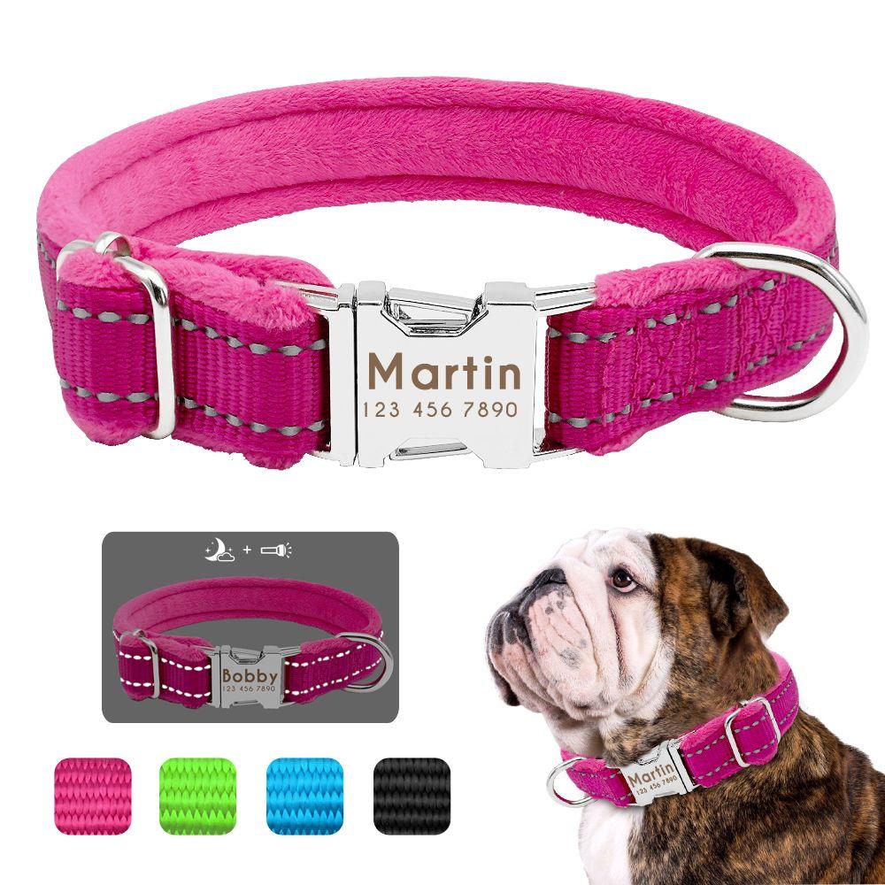 Personalzied Dog Tag Collar Perro Padded Nylon Pet Puppy Pitbull Collar Custom Engraved For Small Medium Large Dogs Bulldog Pug Y200922