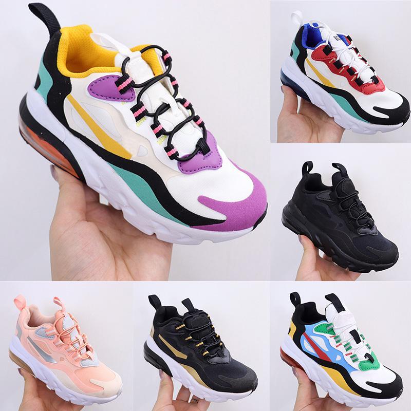 270 React Bauhaus TD Kids Shoes 2020 Boy Girls Running Shoes Black White Hyper Bright Violet Toddler Children Sneakers 28-35