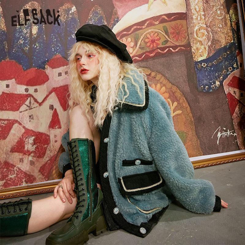 Elfsack Teddy paresseux chevreuil simple laine de laine sources femmes, automne elf elf coréen casual dames de la chaleur millésime Outwear 201103