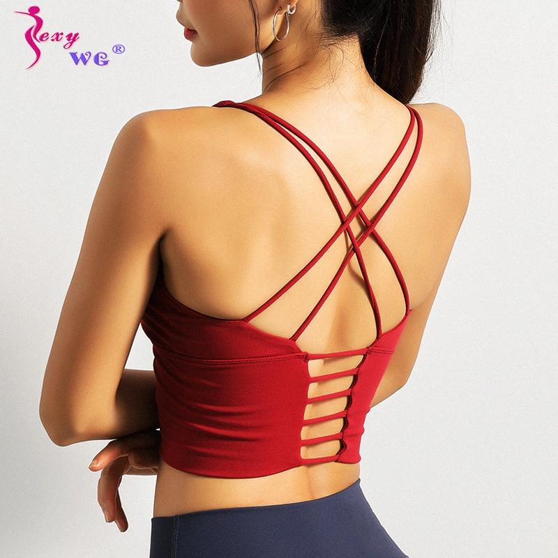 SEXYWG Mulheres Sports Top Correndo Vest Sexy Strappy Esporte Bra à prova de choque Yoga Bras Push Up BH Sportswear aptidão shirt Cortar Jersey 38pL #