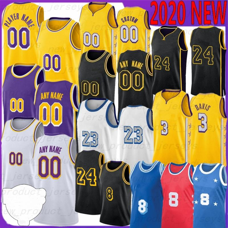 Los Angeles Lakers 23 LeBron James 3 Anthony Davis camisas 30 Troy Daniels 24 Kobe Bryant 0 Kyle Kuzma 2 Lonzo Ball 14 Brandon Ingram kID Basketball Hot Jerseys