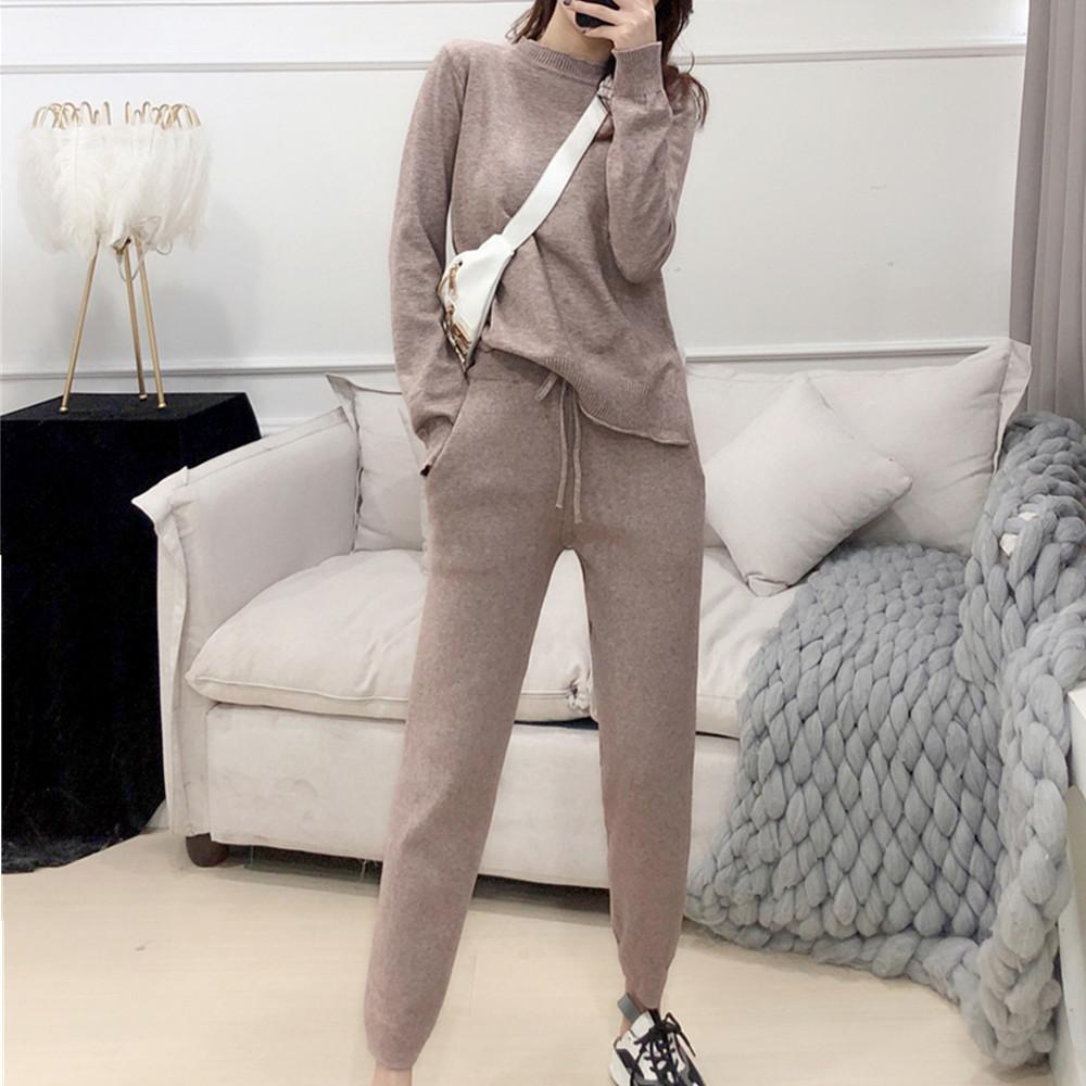 Nuovo Inverno donne lavorato a maglia insieme a due pezzi a maniche lunghe o Neck Pullover Sweater + vita alta Pocket Tute Suit Pant 2 Pz Outfits